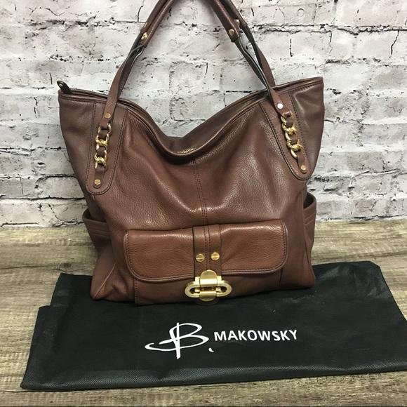 b. makowsky Handbags - B.Makowsky women s dark brown leather handbag 145430111f